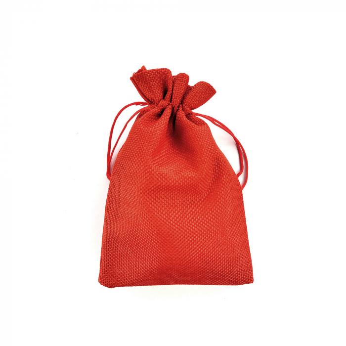Saculet textil rosu 17cm x 11.5cm-big