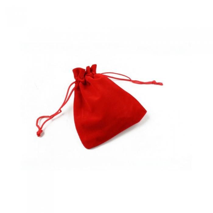 Saculet textil pentru cadouri din catifea cu snur, rosu, 10 x 11 cm-big