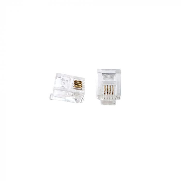 Mufa modulara telefon RJ11 sertizare 6 pini 4 contacte pentru crimpare, transparenta, tata, PVC, 100buc/punga-big