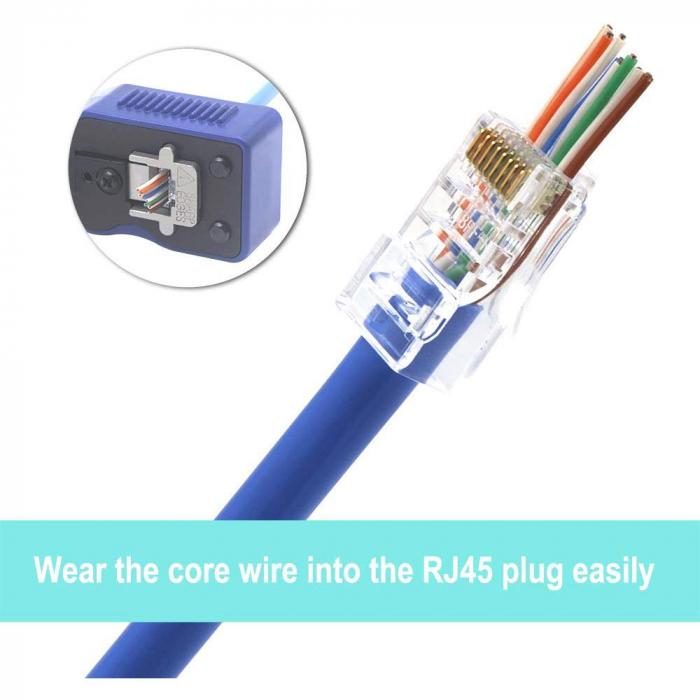 Mufa modulara RJ45 sertizare 8 pini 8 contacte Pass-through CAT5, contacte aurite, pentru crimpare, PVC transparent, tip tata, 100buc/punga-big