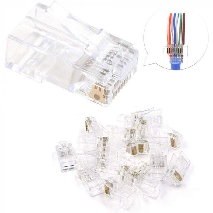Mufa modulara RJ45 sertizare 8 pini 8 contacte Pass-through CAT6, contacte aurite, pentru crimpare, PVC transparent, tip tata, 100 buc/set-big
