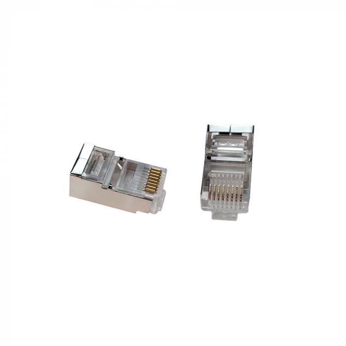 Mufa modulara ecranata RJ45 8P8C CAT5E, 8 pini 8 contacte, pentru crimpare, PVC transparent, tata, 100buc/punga-big