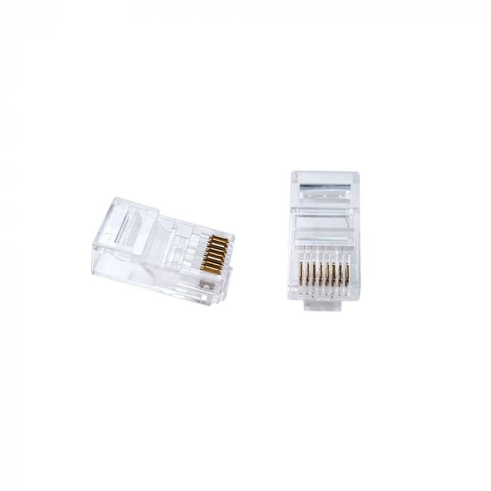 Mufa modulara standard RJ45 8P8C CAT6E, 8 pini 8 contacte, pentru crimpare, PVC transparent, tata, 100buc/punga-big