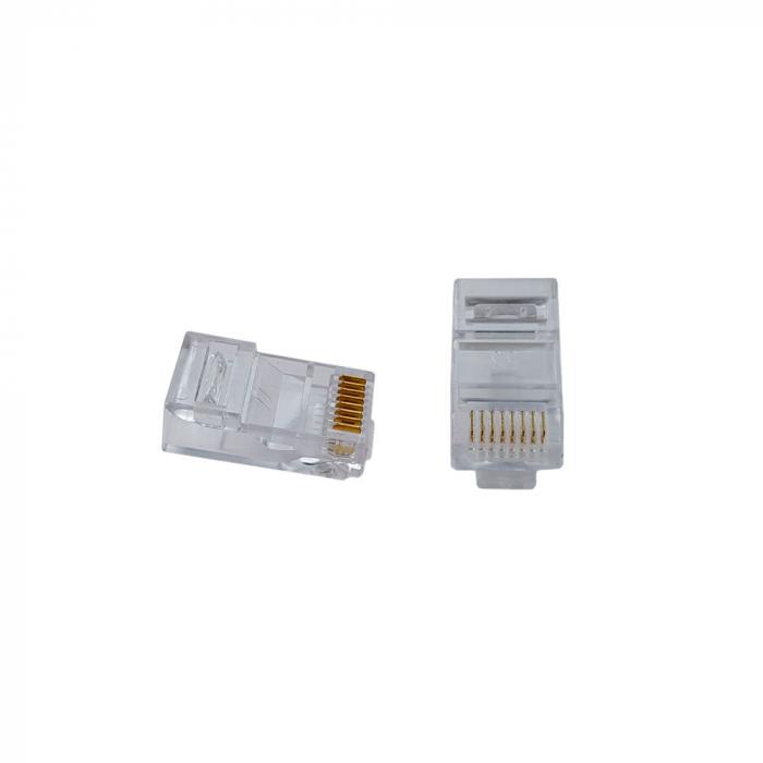Mufa modulara standard RJ45 8P8C CAT5, 8 pini 8 contacte, pentru crimpare, PVC transparent, tata, 100buc/punga-big