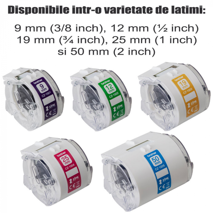 Etichete in rola Brother CZ-1002, 12mm x 5m, cu tehnologie Zink Zero Ink, full color, pentru imprimanta termica Brother VC-500W, originale, CZ1002-big