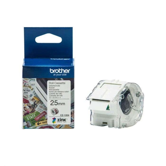 Etichete in rola Brother CZ-1004, 25mm x 5m, cu tehnologie Zink Zero Ink, full color, pentru imprimanta termica Brother VC-500W, originale, CZ1004-big