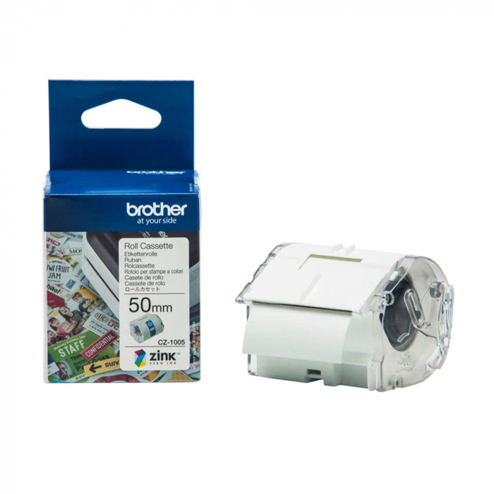 Etichete in rola Brother CZ-1005, 50mm x 5m, cu tehnologie Zink Zero Ink, full color, pentru imprimanta termica Brother VC-500W, originale, CZ1005-big