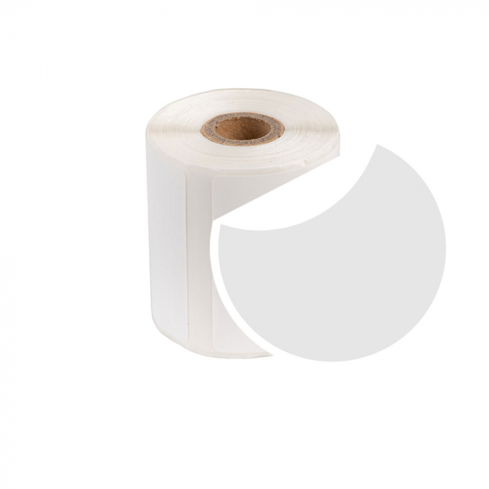 Etichete termice universale rotunde Ø20 mm, plastic alb, permanente, 1 rola, 300 etichete/rola, pentru imprimanta M110 si M200-big