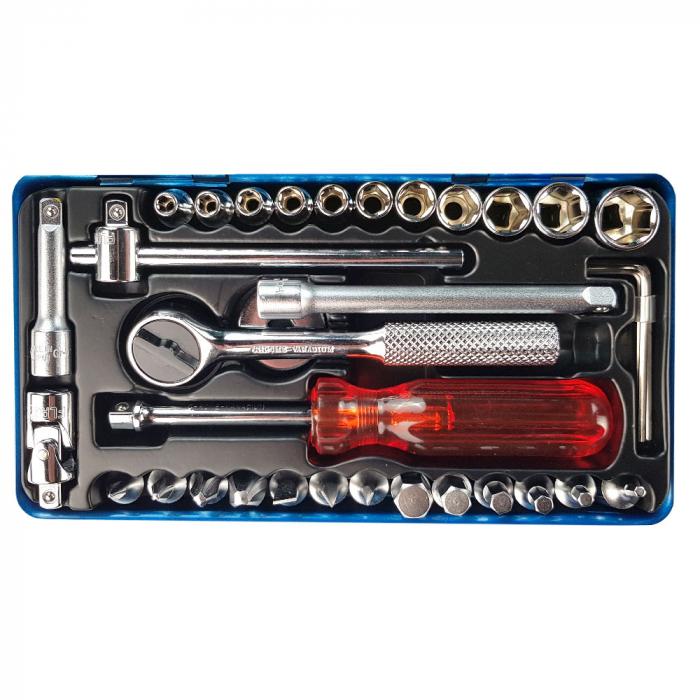 Trusa chei tubulare cu clicket Engineer TWS-04, metric, cutie metalica, chei tubulare 4-13, chei hexagonale, biti si accesorii, 34 piese, fabricata in Japonia-big