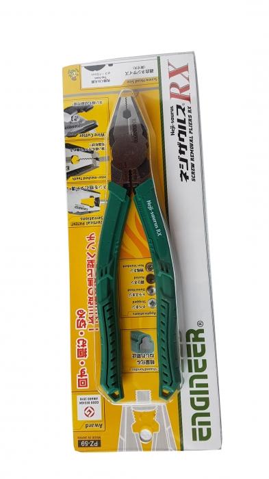 Cleste patent combinat ENGINEER PZ-59, extragere suruburi uzate, 200 mm, taie Ø3.2mm, fabricat in Japonia-big