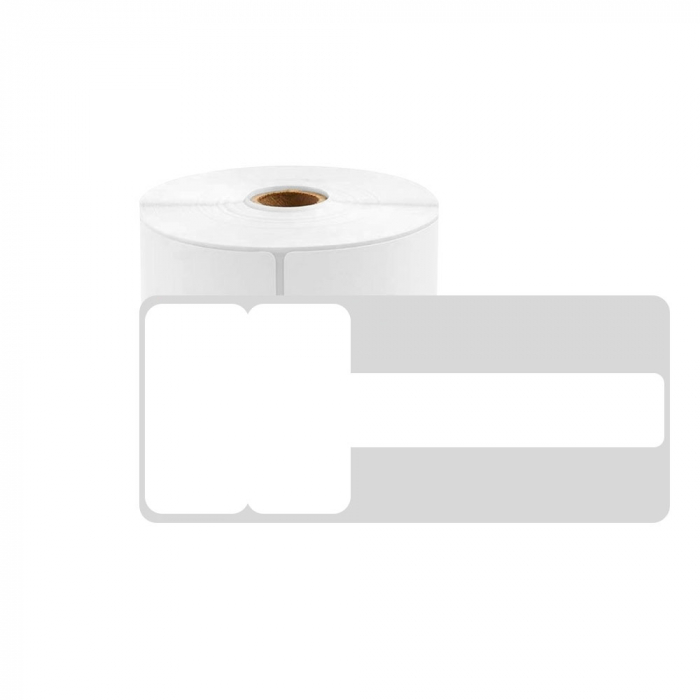 T-label tags for cables 38 x 25mm + 30mm, white plastic, for printer M110/M200, 130 pcs/roll-big