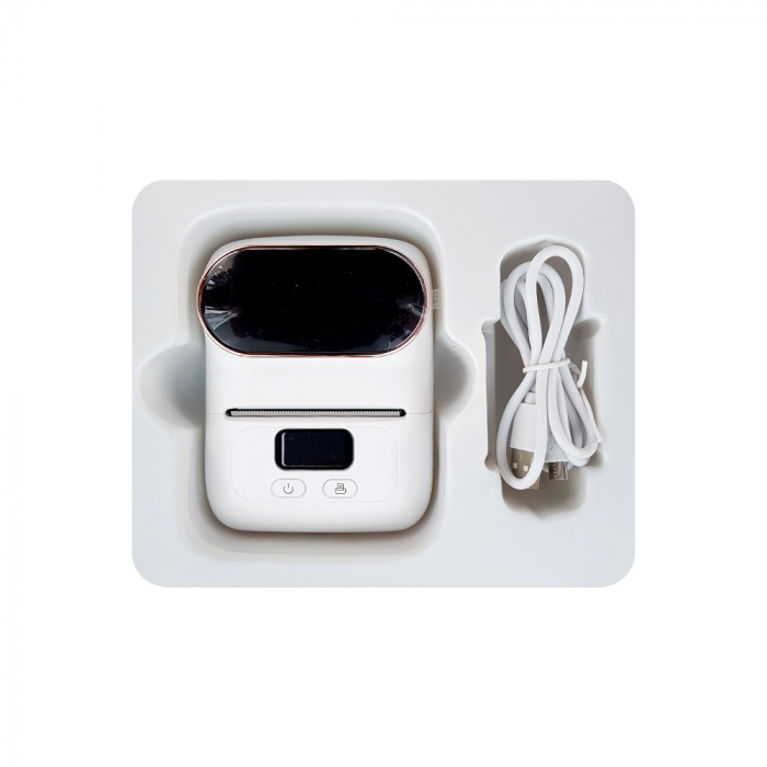 Imprimanta termica portabila M110 Bluetooth aparat de etichetat cu etichete in rola, acumulator Li-Ion 1500 mAh, cablu date, rola suport etichete ajustabila-big
