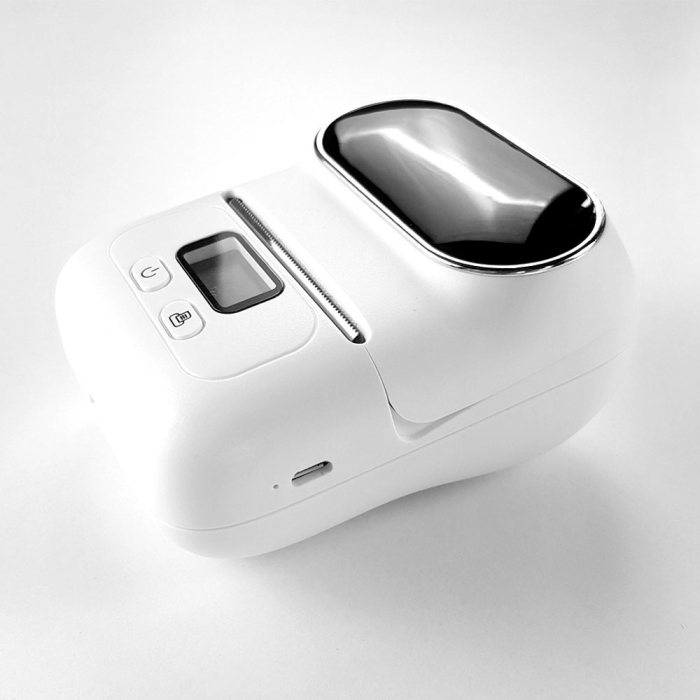 Imprimanta termica portabila Sanco Labelwriter M110 Bluetooth aparat de etichetat cu etichete in rola, acumulator Li-Ion 1500 mAh, incarcator la retea 230V, cablu date, rola suport etichete ajustabila-big