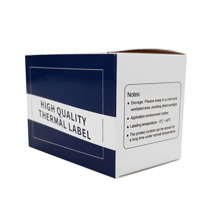 Etichete termice ecusoane/carduri mari 50 mm x 3.5 m, modul continuu neadezive, plastic alb, 1 rola, pentru imprimanta AYMO M200-big
