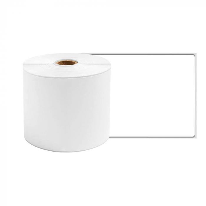 Etichete termice ecusoane/carduri mari 53 mm x 8 m, modul continuu neadezive, plastic alb, 1 rola, pentru imprimanta AYMO M200-big