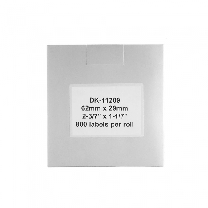 Etichete termice autocolante transport, compatibile, Brother DK-11209, hartie alba, permanente, 29mmx62mm, 800 etichete/rola, suport din plastic inclus. 2 role / set-big