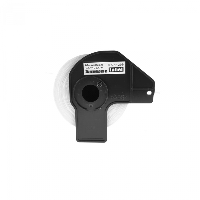 Etichete termice autocolante transport, compatibile, Brother DK-11209, hartie alba, permanente, 29mmx62mm, 800 etichete/rola, suport din plastic inclus DK11209-C-big