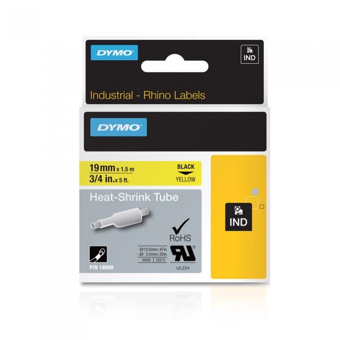 Etichete tub termocontractibil, DYMO ID1, 19mm x 1.5m, negru/galben, 18058, S0718340-big