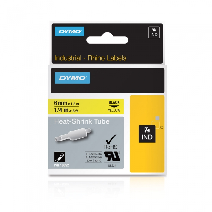 Etichete tub termocontractibil, DYMO ID1, 6mm x 1.5m, negru/galben, 18052 S0718270-big