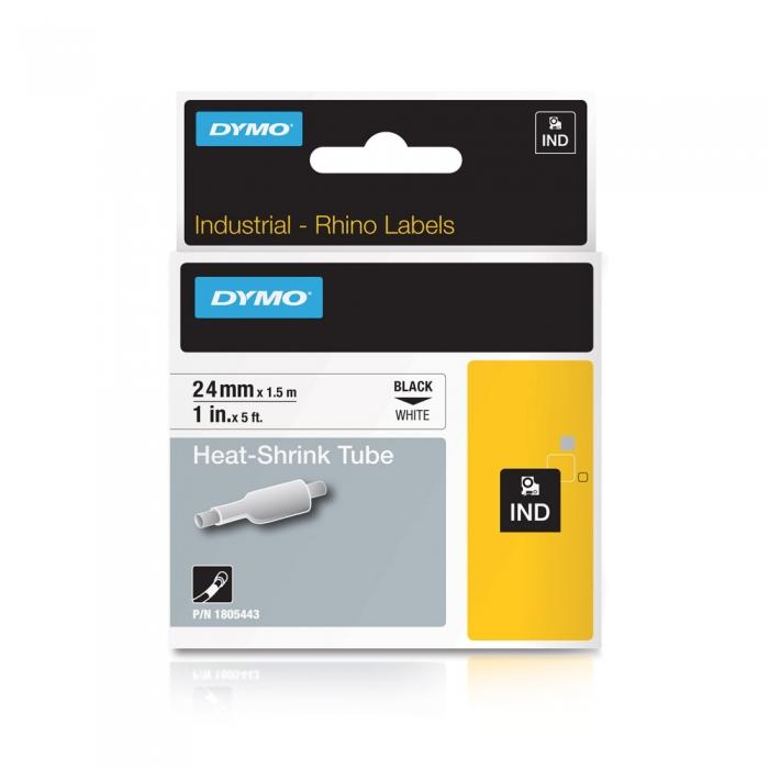 Etichete tub termocontractibil, DYMO ID1, 24mm x 1.5m, negru/alb, 1805443-big