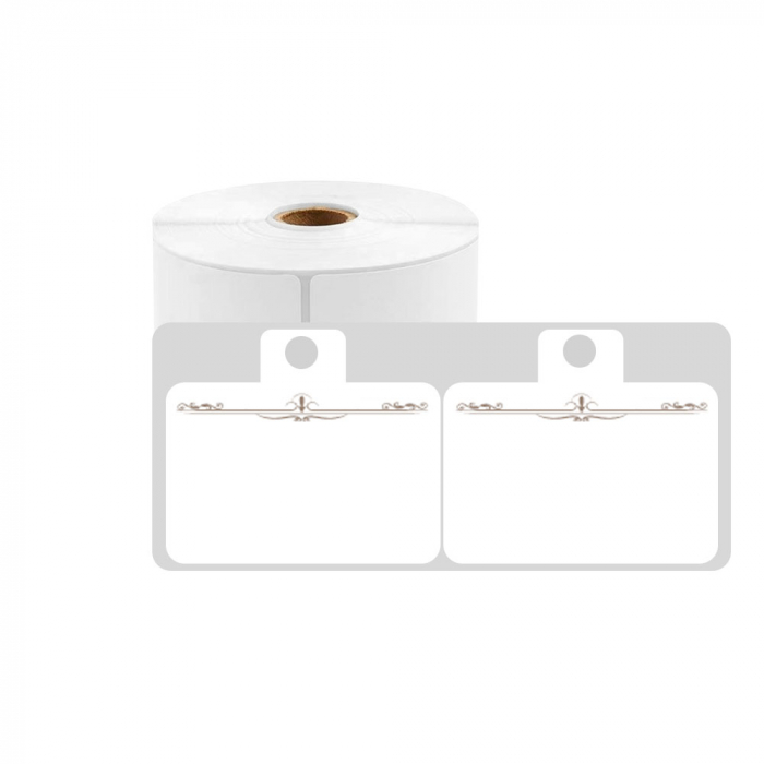 Etichete haine universale fata dubla cu ureche perforata exterioara 50 x 19mm model aripi paun, plastic alb, permanente, 1 rola, 250 etichete/rola, pentru imprimanta M110 si M200-big