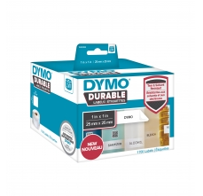 Etichete termice industriale, DYMO LabelWriter Durable, multifunctionale patrate, 25mmx25mm, polipropilena alba, 1 rola/cutie, 1700 etichete/rola, 19330830