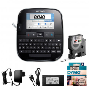 Aparat de etichetat (imprimanta etichete) Dymo LabelManager 500TS, QWERTY, (touchscreen) si 1 caseta etichete profesionale D1, 12mm x 7m, negru/alb, S0946410, 450130