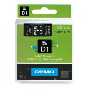 Etichete autocolante, DYMO LabelManager D1, 12mm x 7m, alb/negru, 45021 S07206107
