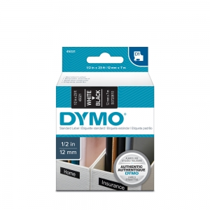 DYMO LabelManager D1 labels, 12mm x 7m, white on black, 45021 S07206106