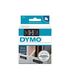 Etichete autocolante, DYMO LabelManager D1, 12mm x 7m, alb/negru, 45021 S07206106