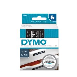 Etichete autocolante plastifiate, DYMO LabelManager D1, 19mm x 7m, alb/negru, 45811 S07209104
