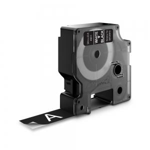 Etichete autocolante plastifiate, DYMO LabelManager D1, 19mm x 7m, alb/negru, 45811 S07209101