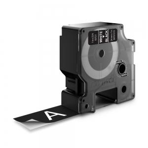 Etichete autocolante plastifiate, DYMO LabelManager D1, 24mm x 7m, alb/negru, 53721 S07210101