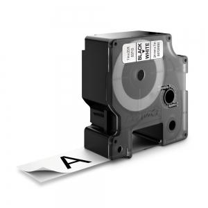 Etichete autocolante plastifiate, DYMO LabelManager D1, 24mm x 7m, negru/alb, 53713 S07209301