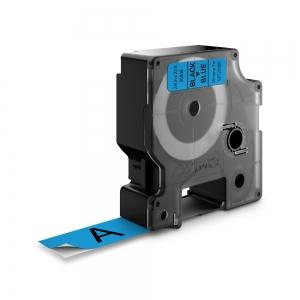 Etichete autocolante plastifiate, DYMO LabelManager D1, 19mm x 7m, negru/albastru, 45806 S07208601