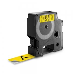 Etichete autocolante plastifiate, DYMO LabelManager D1, 19mm x 7m, negru/galben, 45808 S07208801