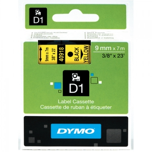 DYMO LabelManager D1 labels, 9mm x 7m, black on yellow, 40918, S07207305
