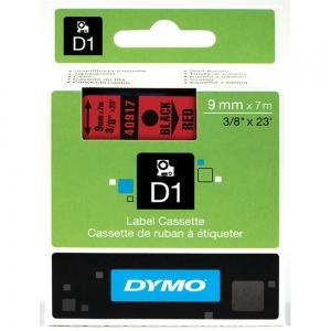 Etichete autocolante, DYMO LabelManager D1, 9mm x 7m, negru/rosu, 40917, S07207205