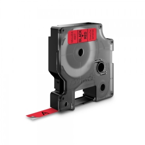 Etichete autocolante, DYMO LabelManager D1, 9mm x 7m, negru/rosu, 40917, S07207201