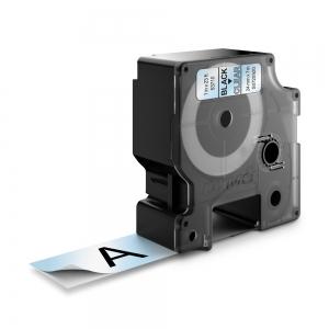Etichete autocolante plastifiate, DYMO LabelManager D1, 24mm x 7m, negru/transparent, 53710 S07209201