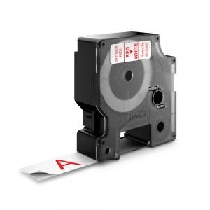 Etichete autocolante plastifiate, DYMO LabelManager D1, 19mm x 7m, rosu/alb, 45805 S07208501