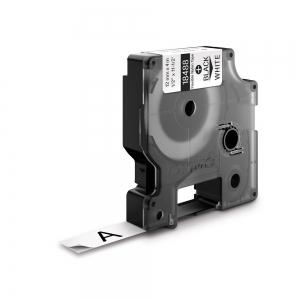 Etichete industriale autocolante, DYMO ID1, nailon flexibil, 12mm x 3.5m, negru/alb x 5 buc, 18488 S07181007