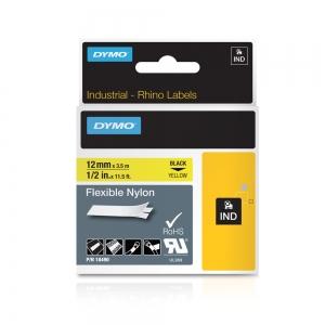Etichete industriale autocolante, DYMO ID1, nailon flexibil, 12mm x 3.5m, negru/galben x 5 buc, 184905
