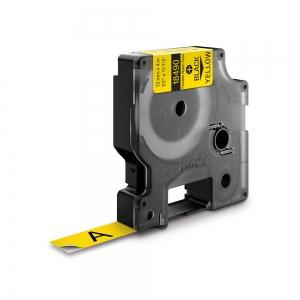 Etichete industriale autocolante, DYMO ID1, nailon flexibil, 12mm x 3.5m, negru/galben x 5 buc, 184904