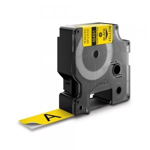 DYMO industrial ID1 flexible nylon labels, 19mm x 3.5m, black on yellow, 184911