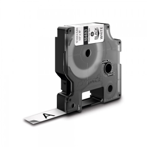 Etichete industriale autocolante, DYMO ID1, poliester permanent, 12mm x 5.5m, negru/alb x 5 buc, 18483 S07182105