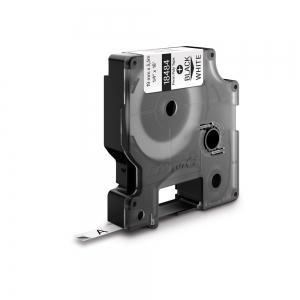 Etichete industriale autocolante, DYMO ID1, poliester permanent, 19mm x 5.5m, negru/alb, 18484 S07182201
