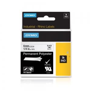 Etichete industriale autocolante, DYMO ID1, poliester permanent, 6mm x 5.5m, negru/alb x 5 buc, 18054427