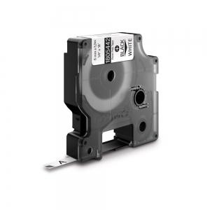 Etichete industriale autocolante, DYMO ID1, poliester permanent, 6mm x 5.5m, negru/alb x 5 buc, 18054426