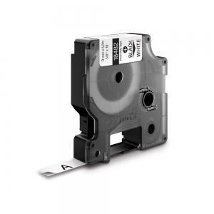 Etichete industriale autocolante, DYMO ID1, poliester permanent, 9mm x 5.5m, negru/alb, 184821